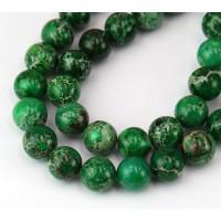 Impression Jasper Beads, Dark Green, 10mm Round