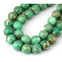 Impression Jasper Beads, Light Green, 9mm Round