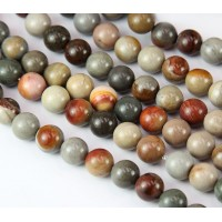 Ocean Jasper Beads, Grey and Brown, 8mm Round