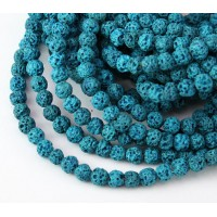 Lava Rock Beads, Blue, 4mm Round