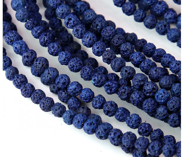 Lava Rock Beads, Navy Blue, 4mm Round