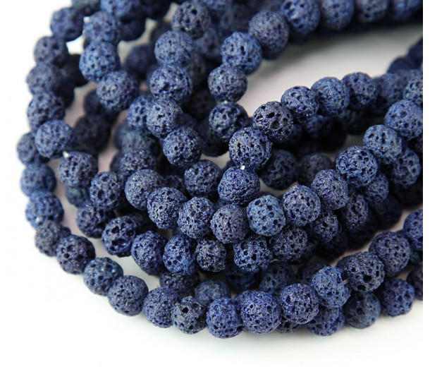 Lava Rock Beads, Navy Blue, 6mm Round