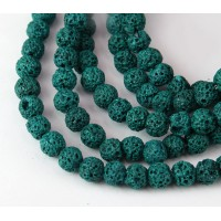 Lava Rock Beads, Dark Teal Green, 6mm Round