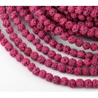 Lava Rock Beads, Fuchsia Pink, 4mm Round
