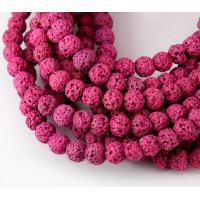 Lava Rock Beads, Fuchsia Pink, 6mm Round