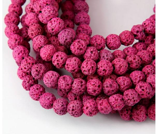 Lava Rock Beads, Fuchsia Pink, 6mm Round