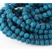 Lava Rock Beads, Blue, 6mm Round