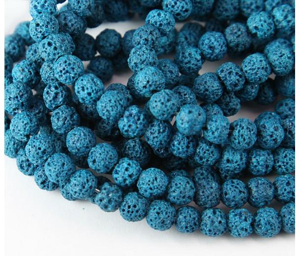 Lava Rock Beads, Blue, 6mm Round