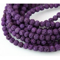 Lava Rock Beads, Purple, 6mm Round