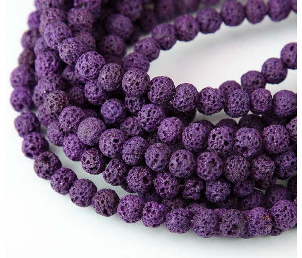Lava Rock Beads, Purple, 6mm Round