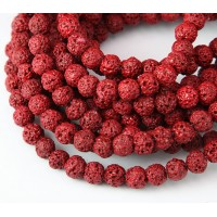 Lava Rock Beads, Red, 6mm Round