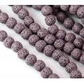 Lava Rock Smooth Beads, Mauve, 10mm Round