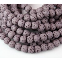 Lava Rock Smooth Beads, Mauve, 10mm Round