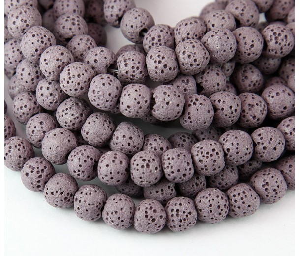 Lava Rock Smooth Beads, Mauve, 8mm Round