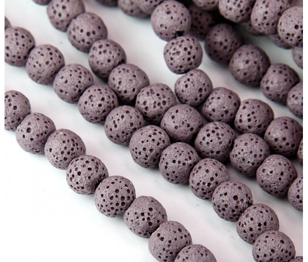Lava Rock Smooth Beads, Mauve, 8mm Round