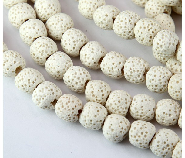 Lava Rock Smooth Beads, White, 8mm Round