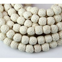 Lava Rock Smooth Beads, White, 10mm Round