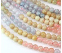 Morganite Beads, Natural, 8mm Round