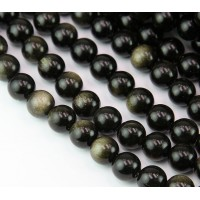 Gold Sheen Obsidian Beads, 10mm Round
