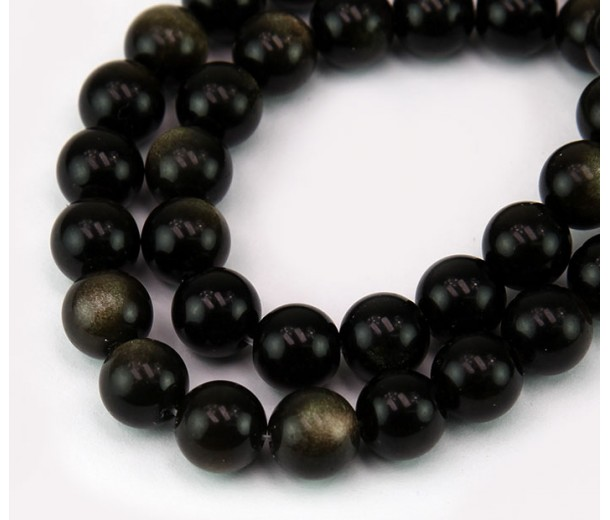 Gold Sheen Obsidian Beads, Natural, 10mm Round
