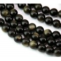 Gold Sheen Obsidian Beads, 8mm Round