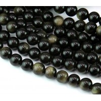 Gold Sheen Obsidian Beads, Natural, 6mm Round