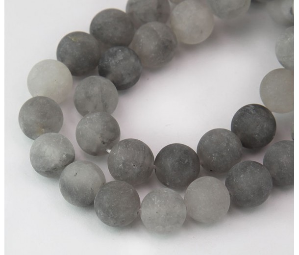 Matte Quartz Crystal Beads, Silver Grey, 10mm Round