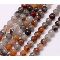 Lodolite Quartz Beads, 8mm Round