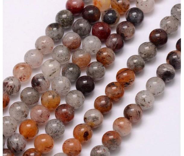 Lodolite Quartz Beads, Natural, 8mm Round