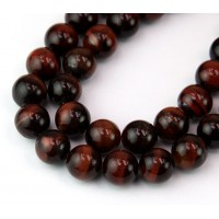 Tiger Eye Beads, Dark Red, 10mm Round
