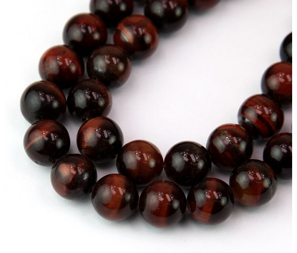 Tiger Eye Beads, Dark Red, 10mm Round