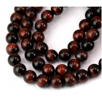 Tiger Eye Beads, Dark Red, 8mm Round