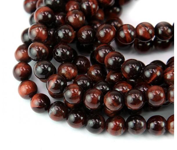 Tiger Eye Beads, Dark Red, 8mm Round