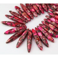 Impression Jasper Stick Beads, Pink, 18-40mm