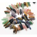 Mixed Gemstone Stick Beads, Matte, 18-40mm