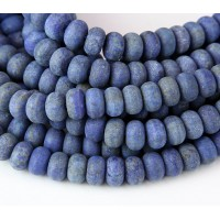 Matte Lapis Lazuli Beads, 5x8mm Smooth Rondelle