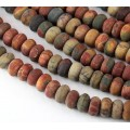 Matte Red Creek Jasper Beads, 6x10mm Smooth Rondelle