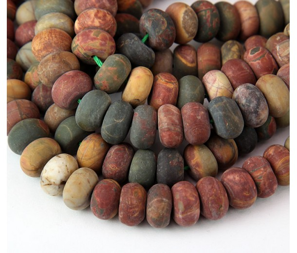 Matte Red Creek Jasper Beads, 6x10mm Smooth Rondelle
