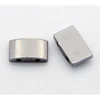 Hematite Spacer Beads, 2 Hole, 17x10mm Rectangle