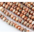 Red Veined Jasper Beads, Natural, 5x8mm Smooth Rondelle