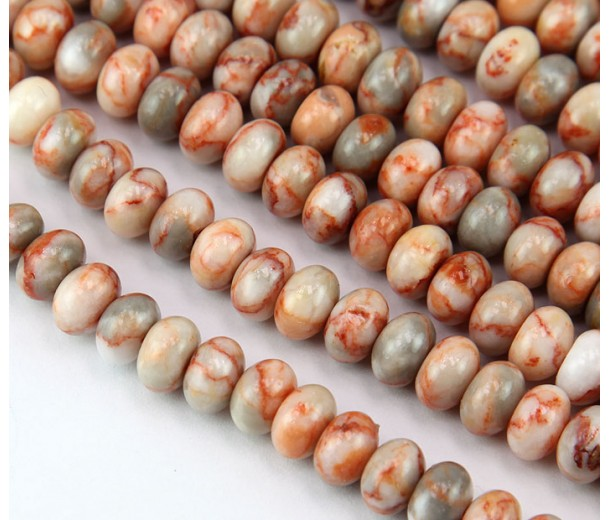 Red Veined Jasper Beads, 5x8mm Smooth Rondelle