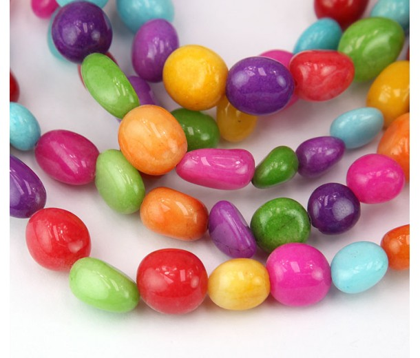 Candy Jade Beads, Color Mix, Oval Nugget