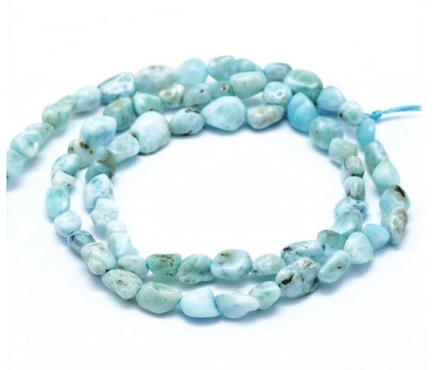 Larimar Beads, Light Teal, Small Nugget