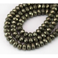 Pyrite Beads, 5x8mm Faceted Rondelle