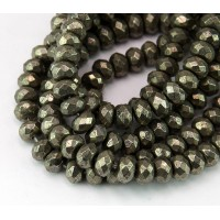 Pyrite Beads, Natural, 4x6mm Faceted Rondelle