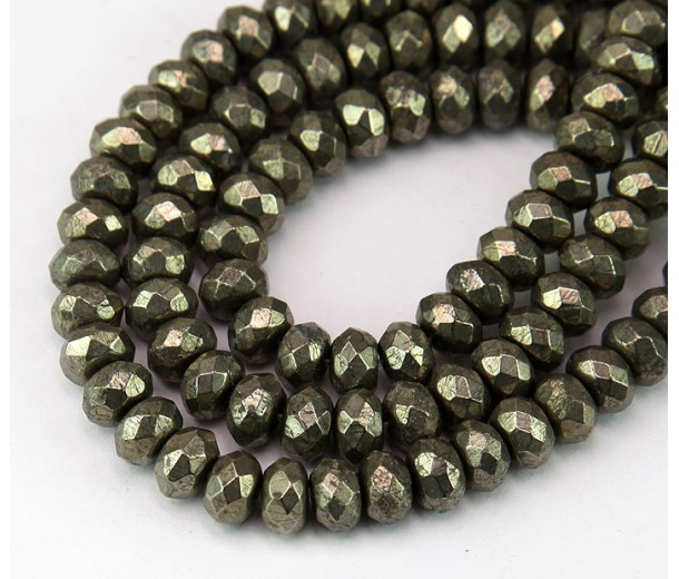 Pyrite Beads, Natural, 5x8mm Faceted Rondelle