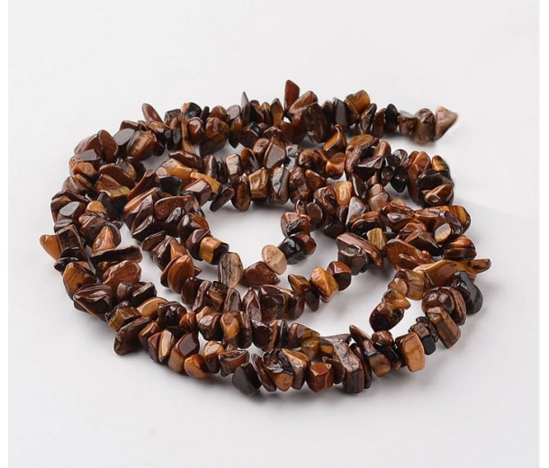 Tiger Eye Beads, Natural, Medium Chip