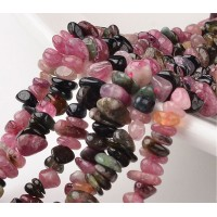 Tourmaline Beads, Black and Pink, Small Chip