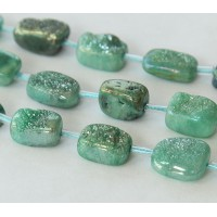 Agate Beads, Sea Green, Druzy Oval Nugget