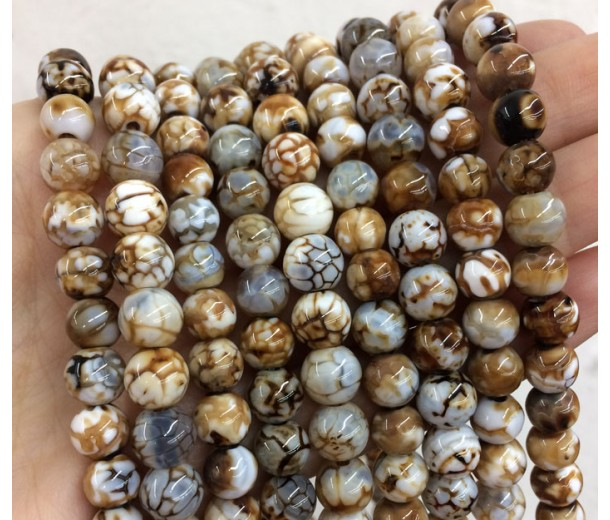 Fire Crackle Agate Beads, Light Brown, 7mm Round